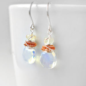 Opal drop earrings in silver and rose gold - October birthstone jewelry