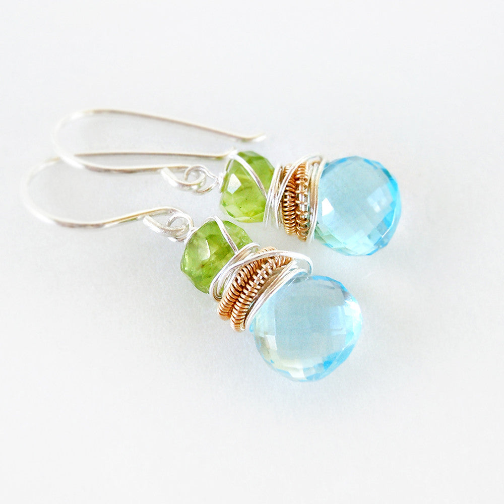 Sky blue topaz and lime green peridot gemstone drop earrings in silver and gold