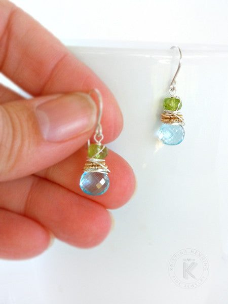 Sky blue topaz and green peridot Hadley earrings