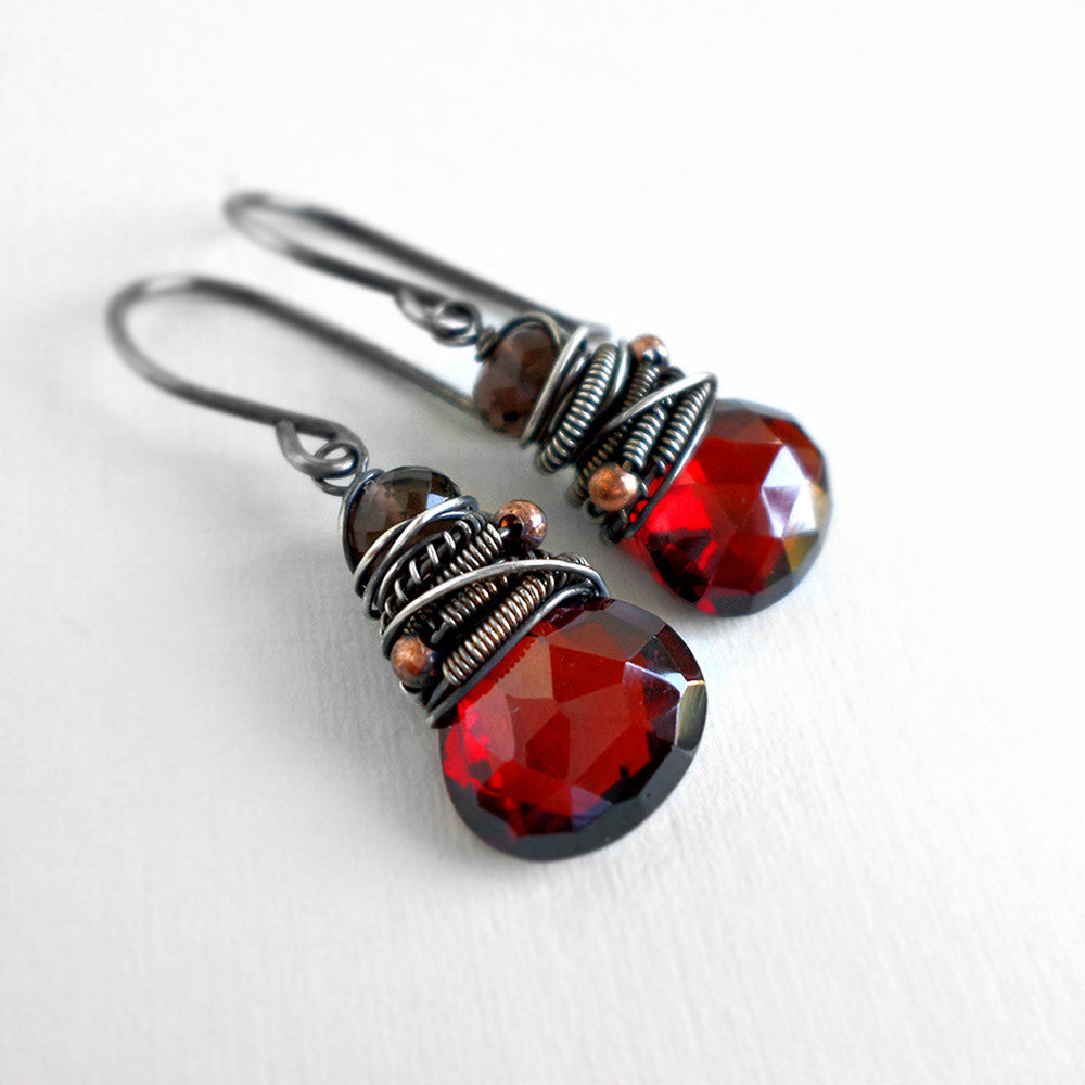Red and brown drop earrings in silver
