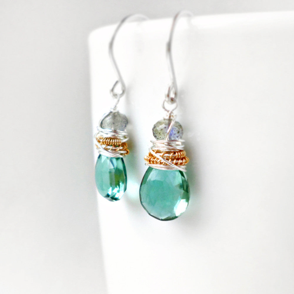 Labradorite and teal green quartz drop earrings in silver and gold