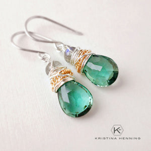 Teal green quartz and labradorite gemstone drop earrings wire wrapped with silver and gold