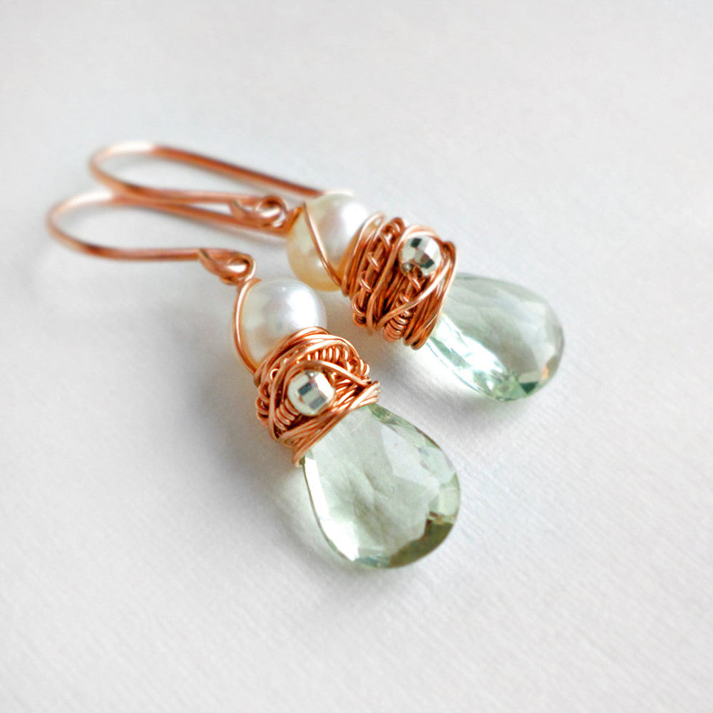rose gold earrings with green amethyst and pearl