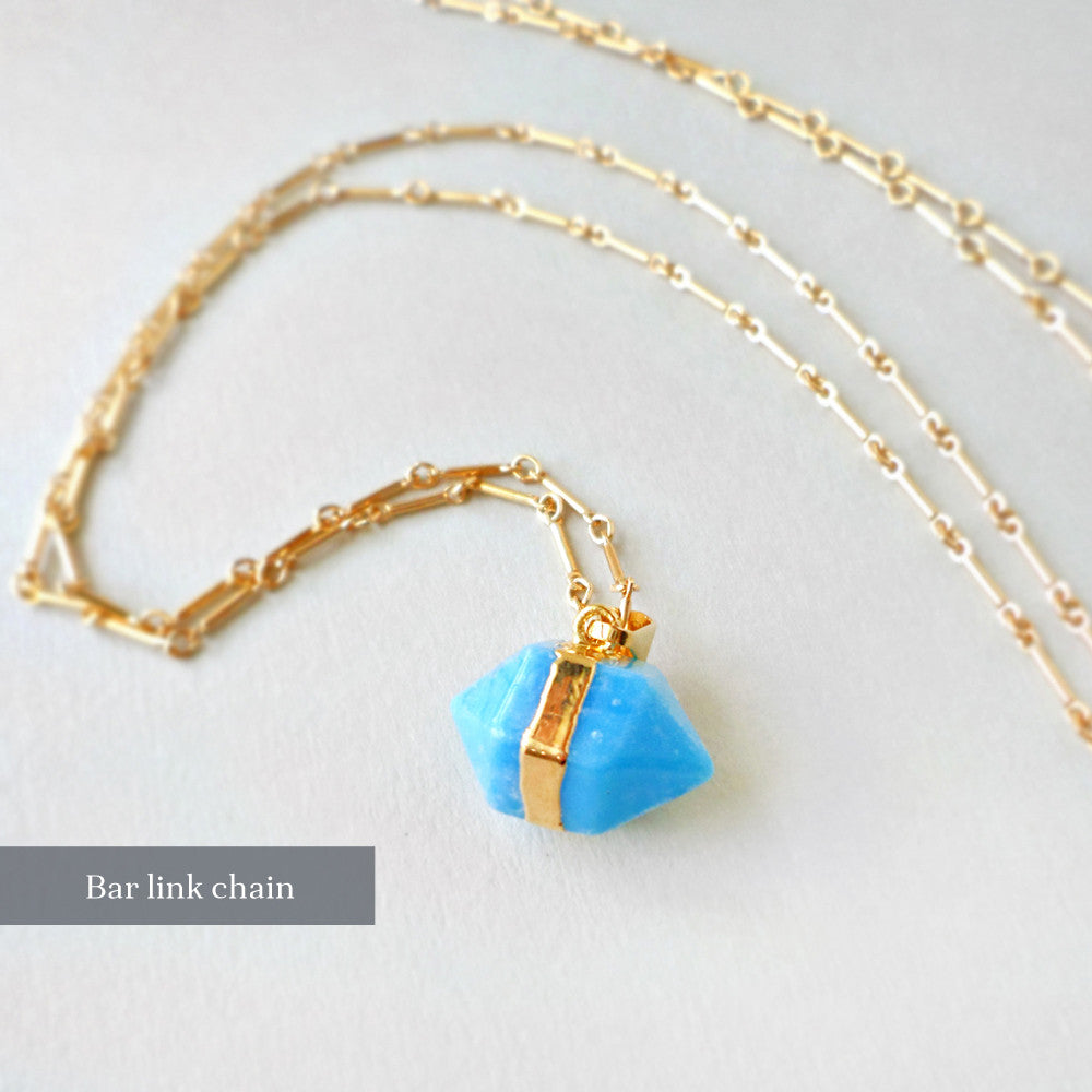 turquoise howlite and gold long necklace
