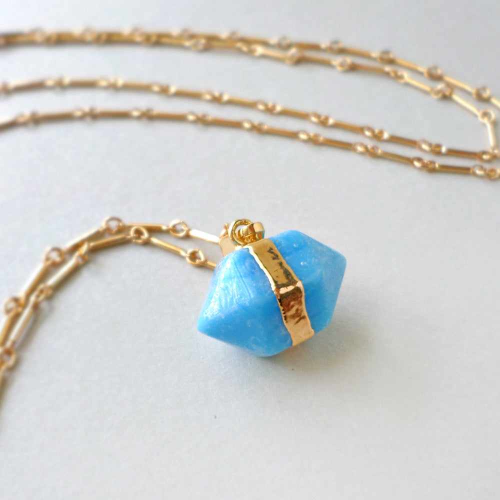 long turquoise blue and gold layer necklace