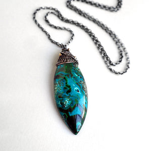 Chrysocolla and malachite large stone pendant necklace in sterling silver