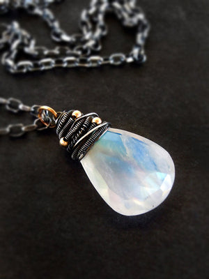 Moonstone and sterling silver gemstone necklace