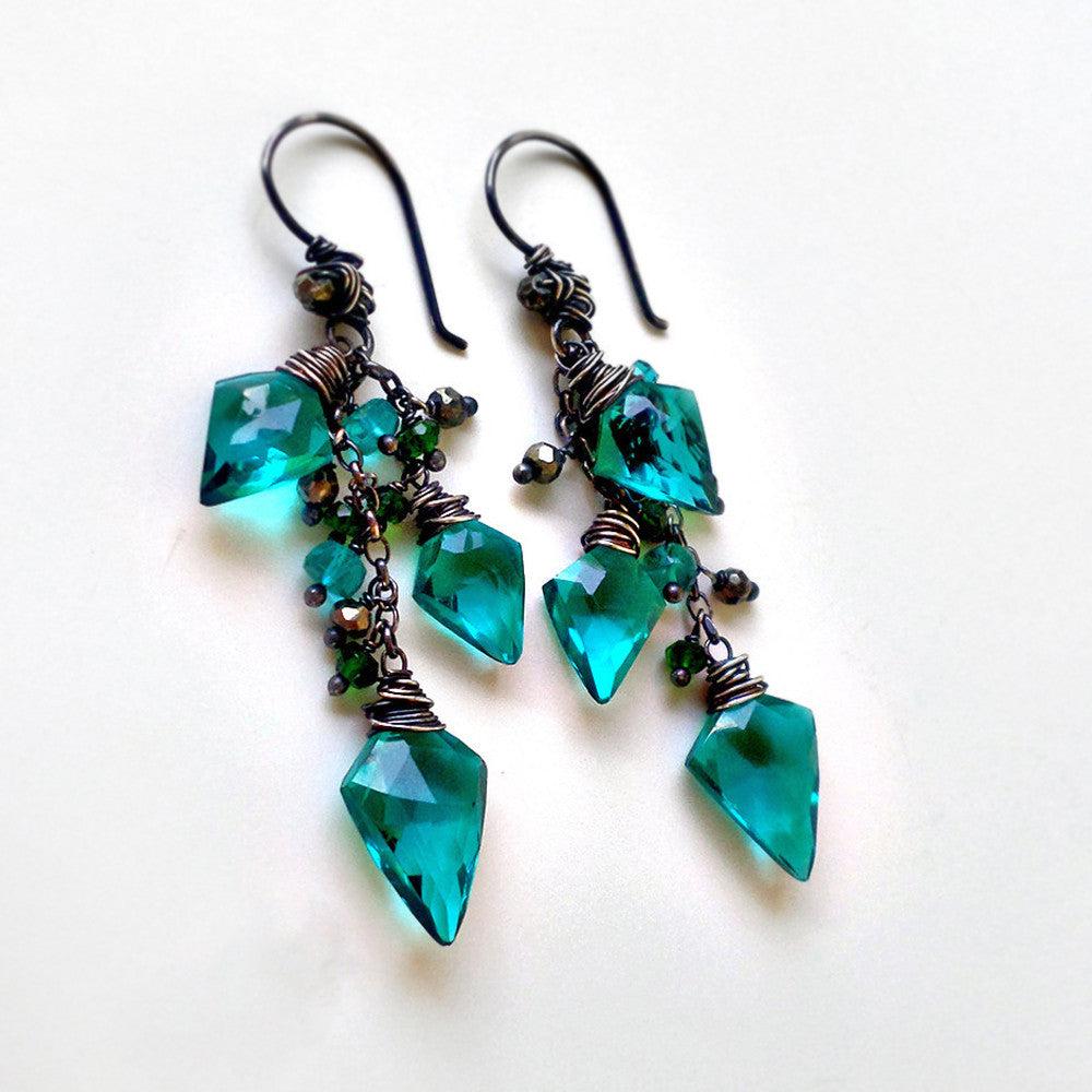 Teal quartz dangle earrings with gemstones and silver