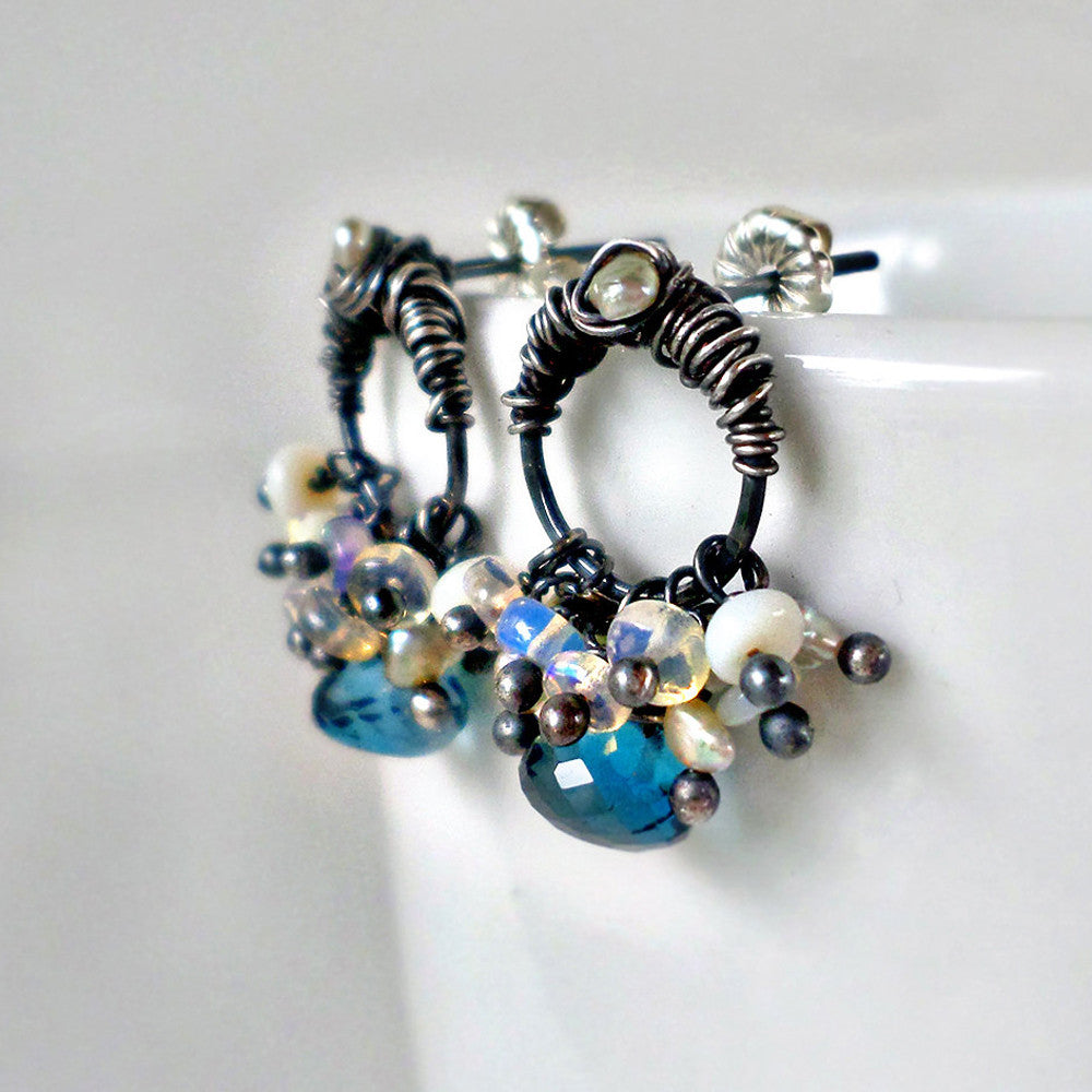 blue topaz and oxidized silver circle post earrings