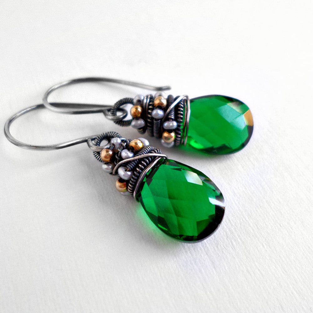 Forest green quartz and silver earrings