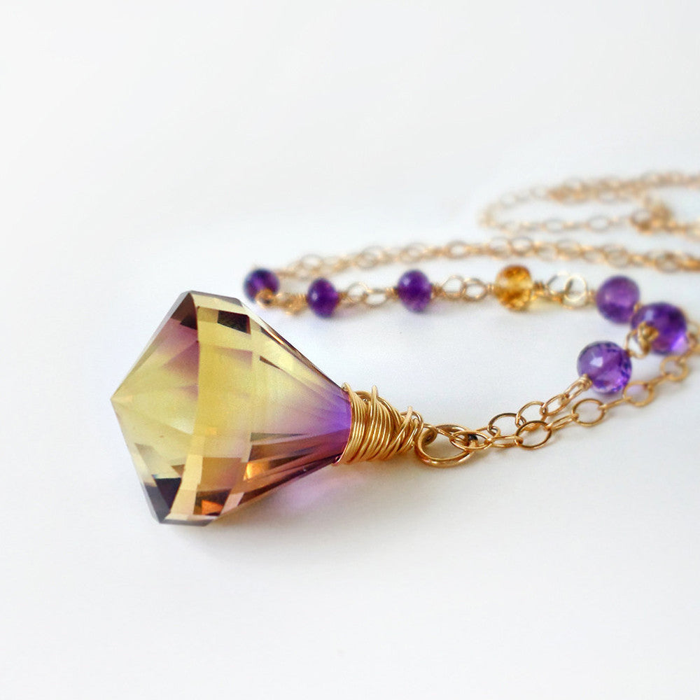 ametrine and gold gemstone pendant necklace