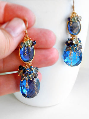 Cobalt blue gemstone chandelier earrings in gold