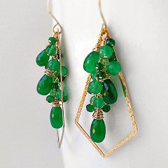 Emerald green onyx gemstone and gold dangle earrings