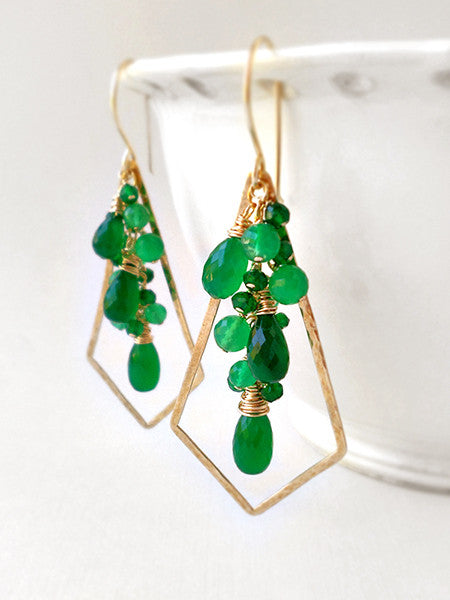 Forest green stone and gold chandelier earrings