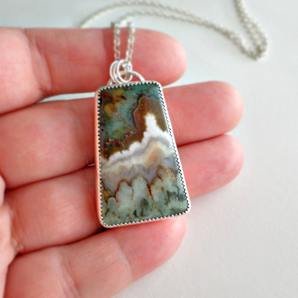 Green Plume Agate Necklace