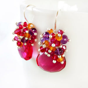 Hot pink gemstone drop earrings in silver with purple amethyst, orange garnets