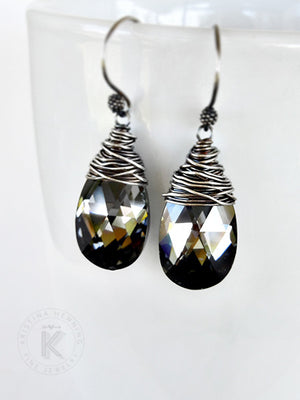 Wire wrapped sparkling black Swarovski crystal earrings