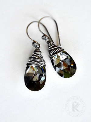 Hand wrapped black crystal and silver wire earrings