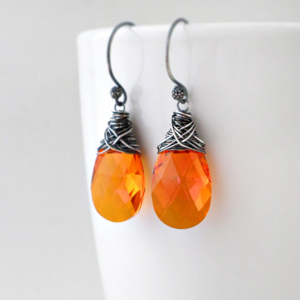 silver and orange crystal drop earrings