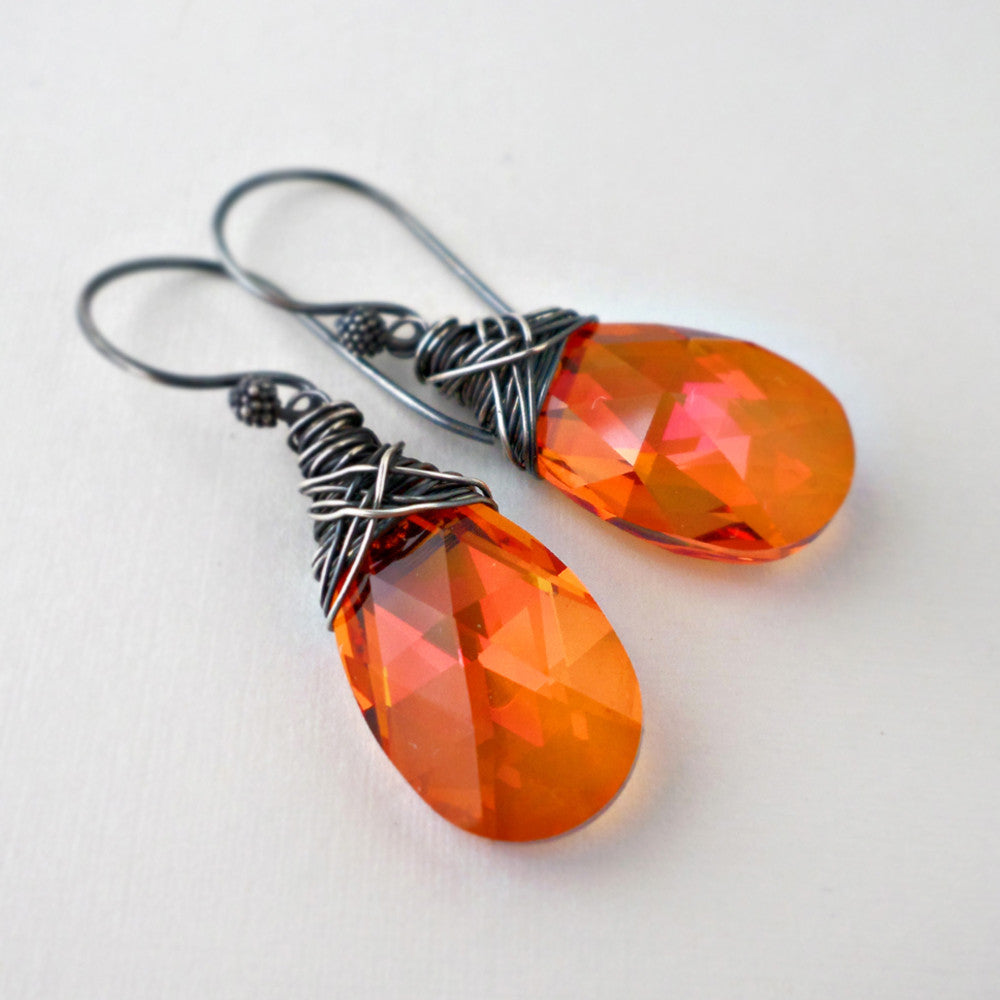 Orange Swarovski crystal earrings with sterling silver