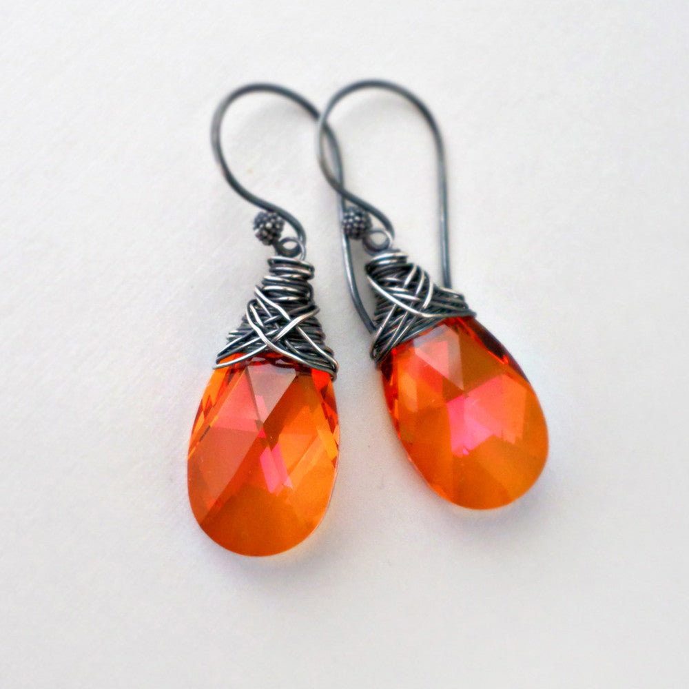 Orange crystal drop earrings wire wrapped with sterling silver