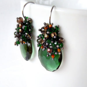 Emerald green and brown gemstone chandelier earrings