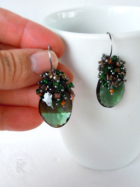 Green quartz dangle earrings made with emerald green quartz, smoky quartz, glittering pyrite (fools gold), and golden brown tigers eye gemstones