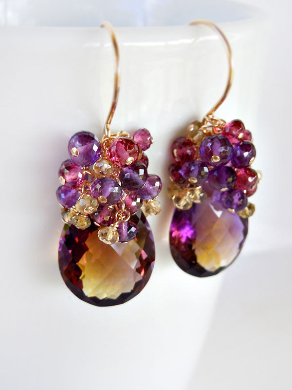 Sparkling drops of purple and gold ametrine gemstone earrings