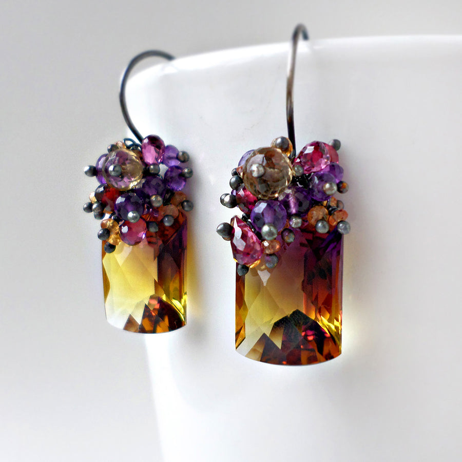 ametrine, amethyst and pink garnet gemstone earrings in sterling silver