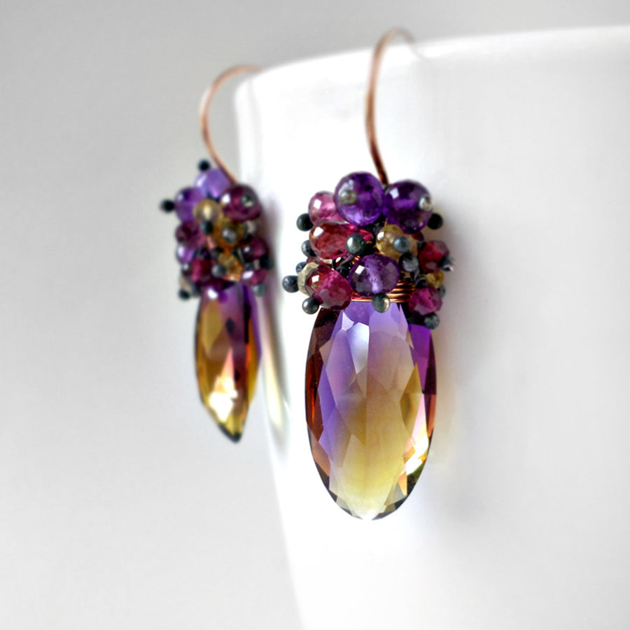 Ametrine earrings with pink garnet, purple amethyst and champagne citrine