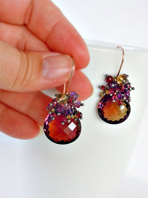 Purple and gold ametrine gemstone drop earrings