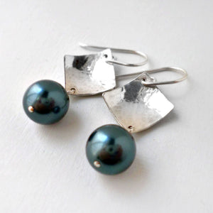 sterling silver and Tahitian green pearl earrings