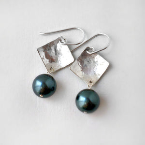 sterling silver and green pearl earrings