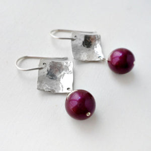Silver and purple pearl dangle earrings
