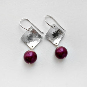 purple pearl and sterling silver earrings