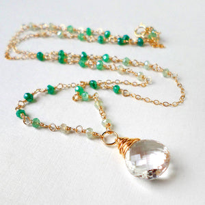 Green ombre gemstone and gold necklace with clear quartz pendant