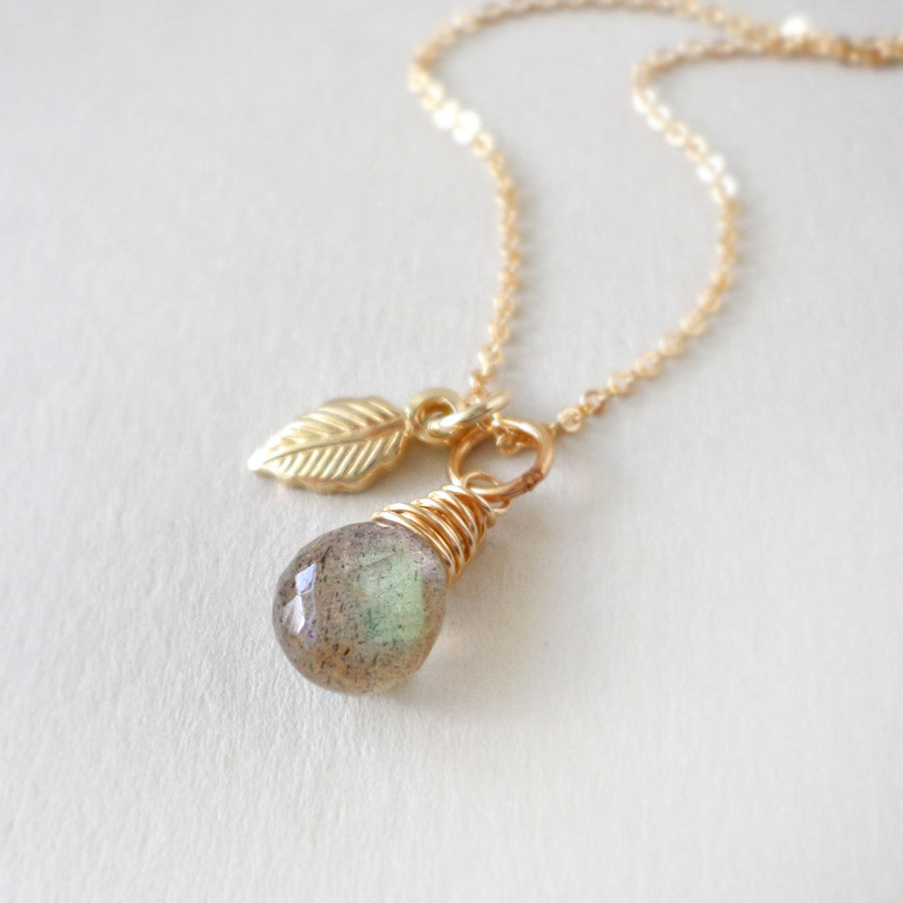 Labradorite & Gold Leaf Necklace