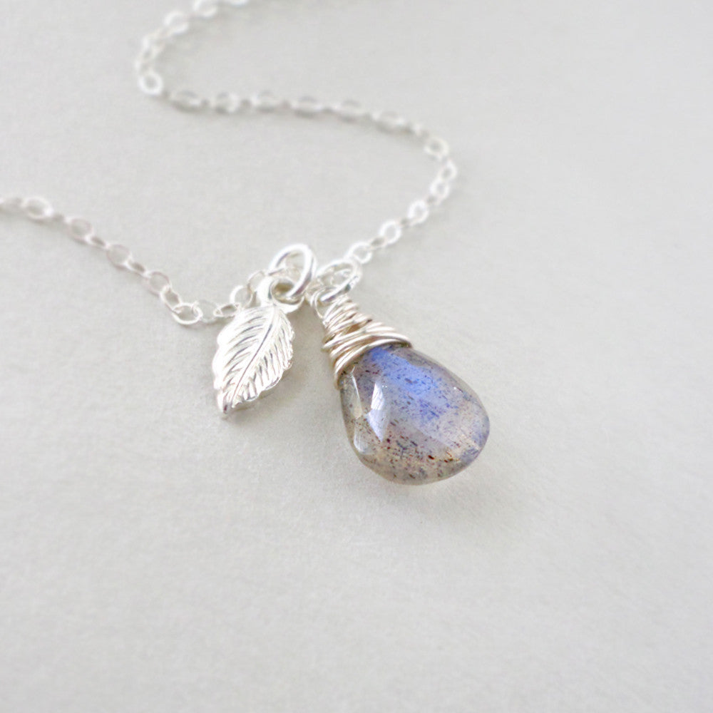 Labradorite & Silver Leaf Necklace