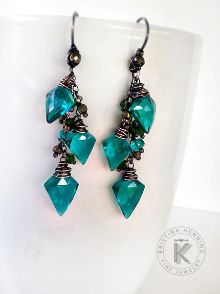 Silver dangle earrings with teal quartz drops, emerald green quartz and golden pyrite gemstones