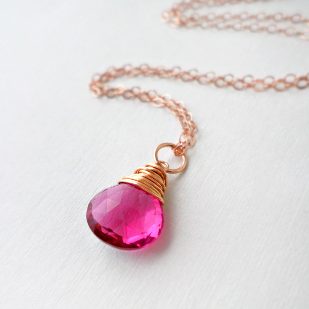 hot pink quartz and rose gold gemstone necklace