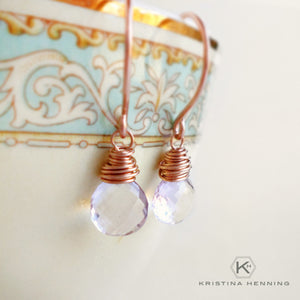 Rose gold and pink amethyst drop earrings