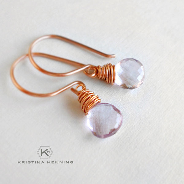 Pink amethyst and rose gold drop earrings - February birthstone