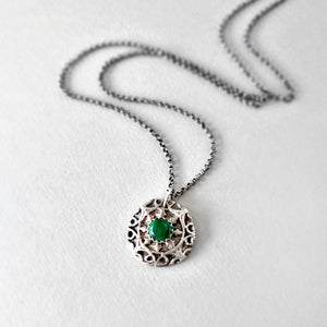 green malachite and sterling silver pendant necklace