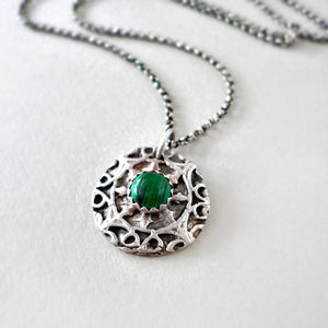 Handmade silver and malachite necklace