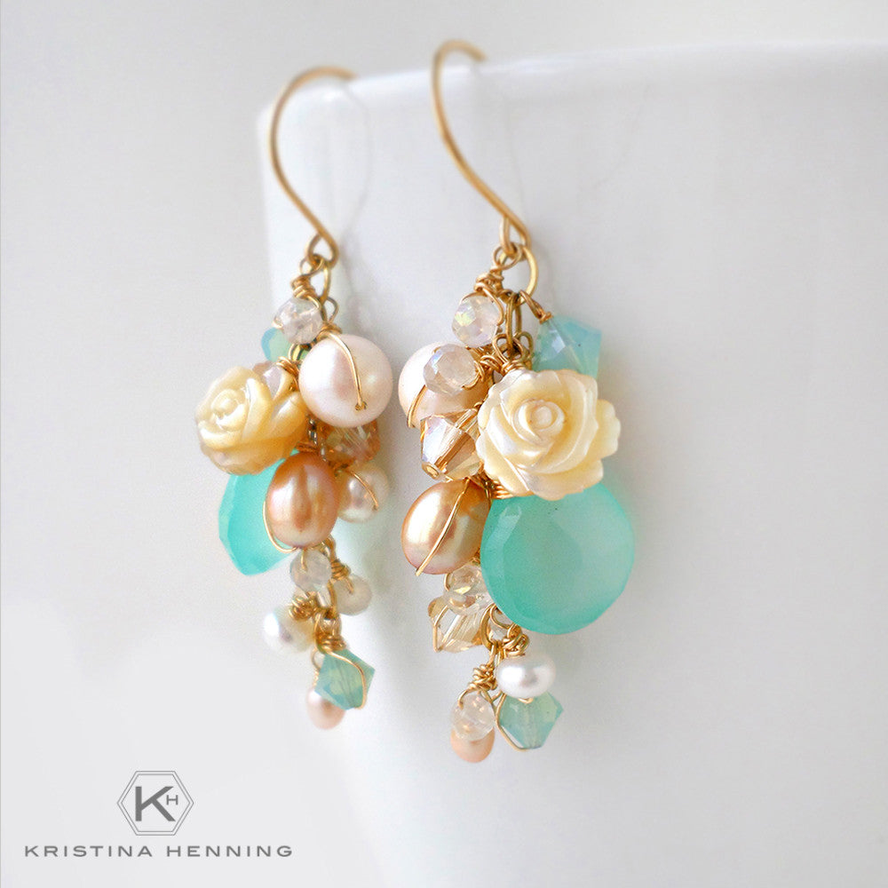 Gold beach inspired long dangle earrings with chalcedony, pearl and crystals