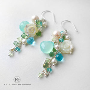 Blue green long gemstone dangle earrings with chalcedony, topaz, quartz and pearls