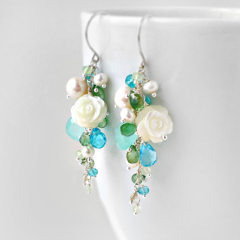 Beach inspired long gemstone earrings in blue and green with sterling silver