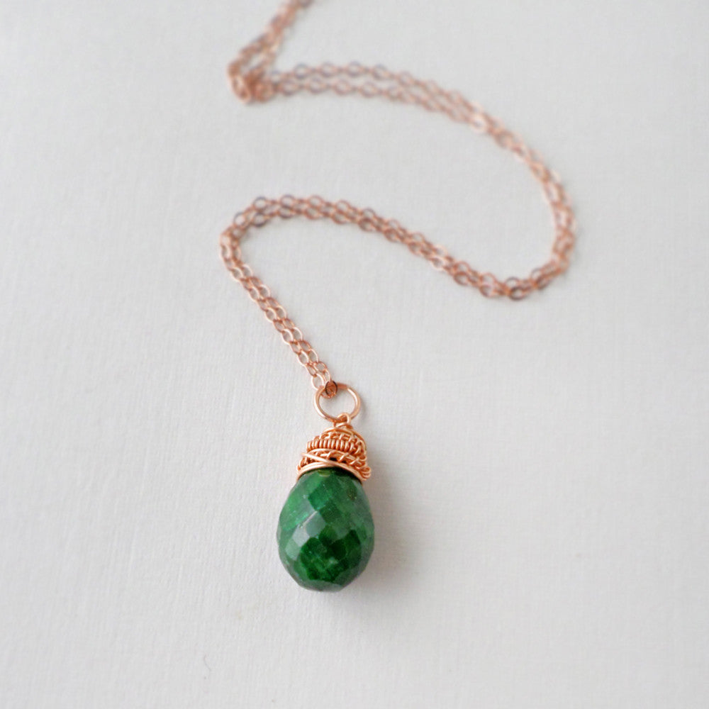 Forest green gemstone and rose gold necklace