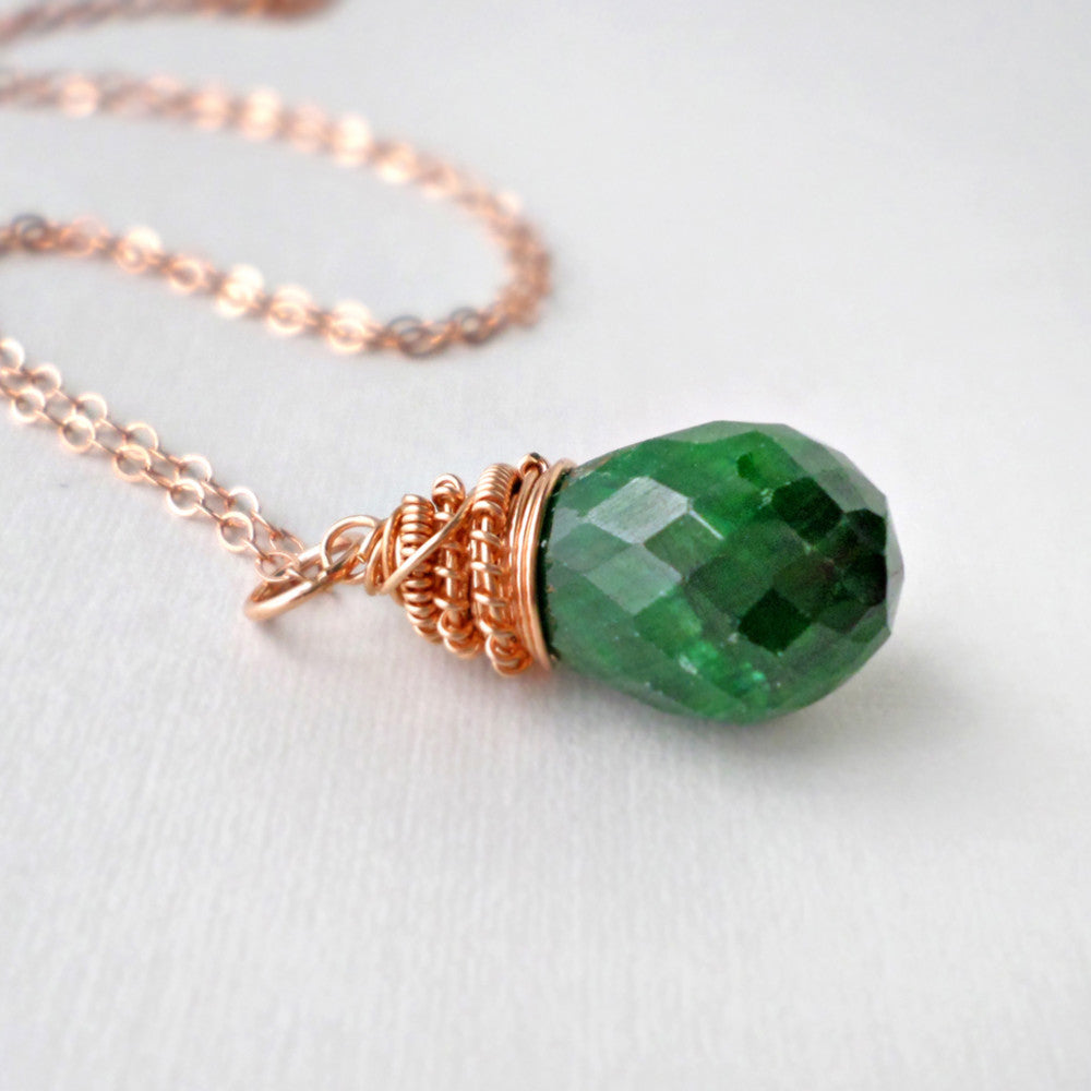 Emerald and rose gold necklace, green gemstone pendant, May birthstone