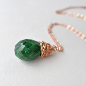 May birthstone necklace - emerald and rose gold